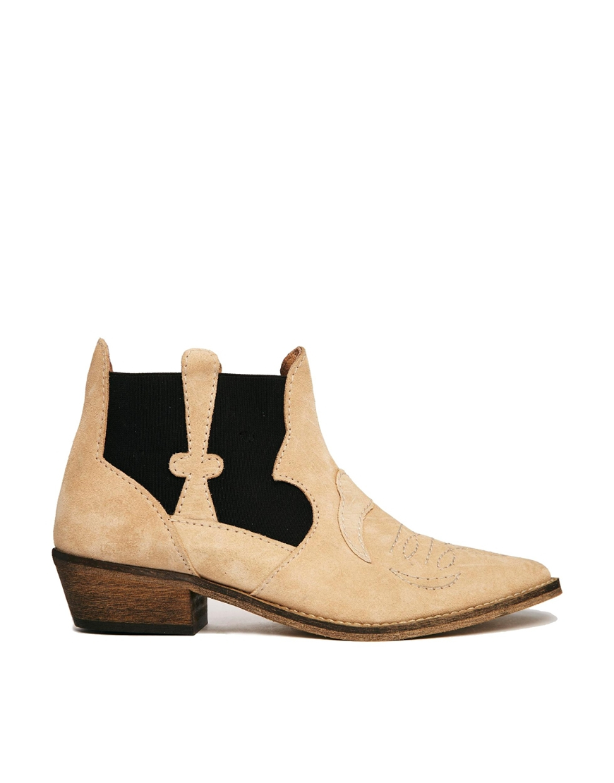 Lyst Ganni Amber Split Suede Cowboy Ankle Boots In Natural