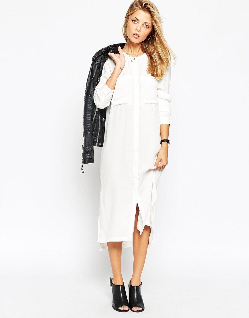 Lyst Asos Midi Shirt Dress With Pockets In White