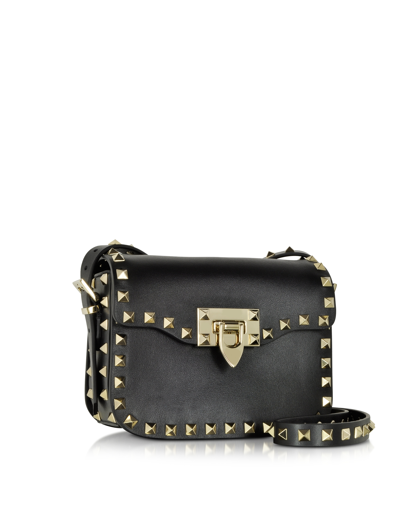 Valentino Rockstud Black Leather Small Shoulder Bag in Black | Lyst