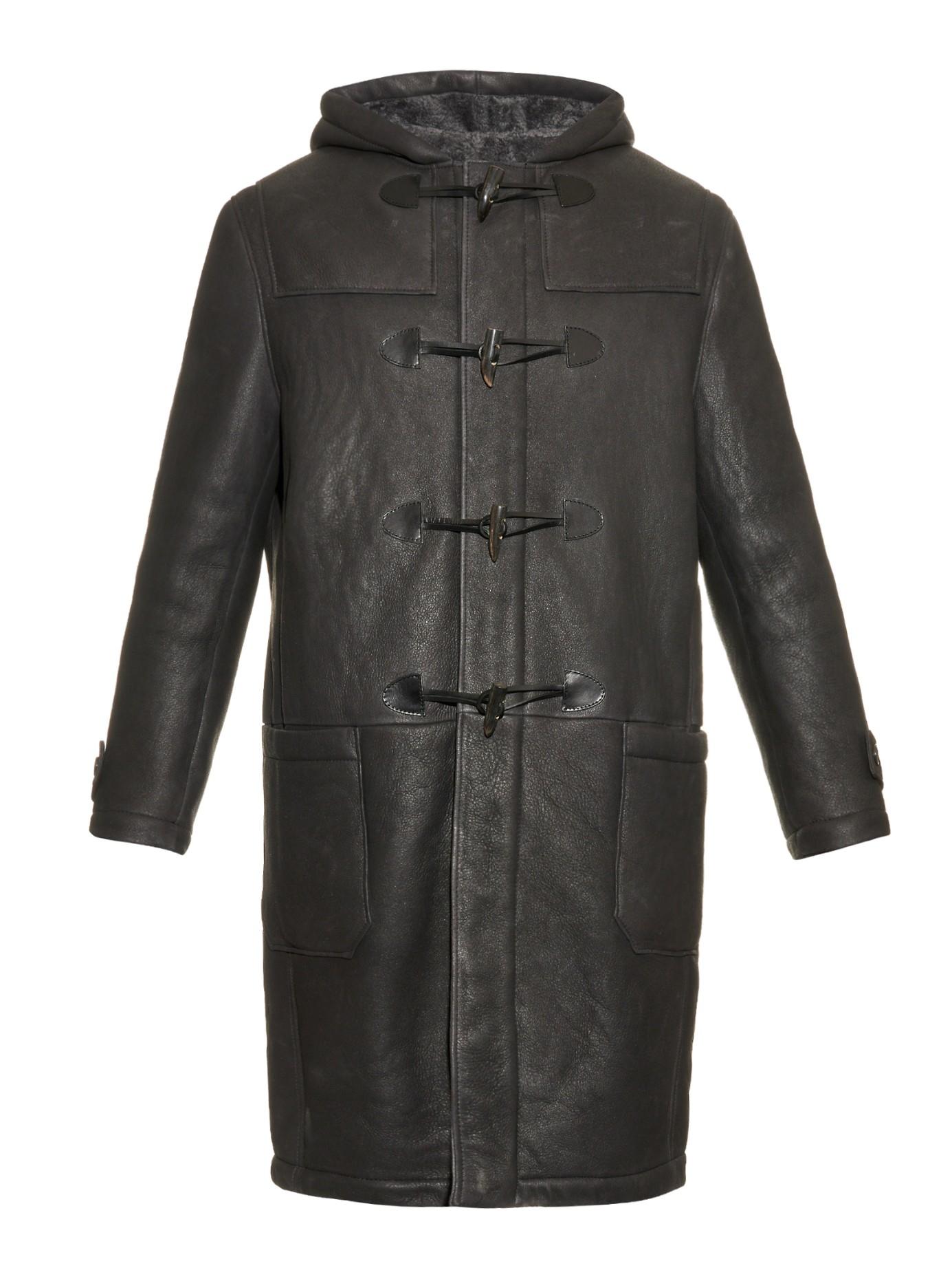 Joseph Reversible Shearling Duffle Coat in Gray for Men | Lyst