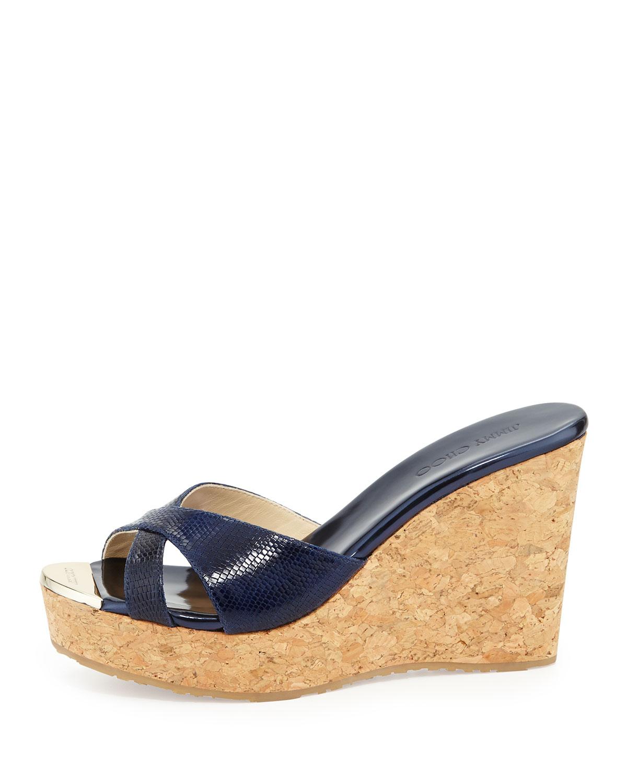 64182baab30 Lyst - Jimmy Choo Pandora Snakeprint Wedge Slide Sandal in Blue