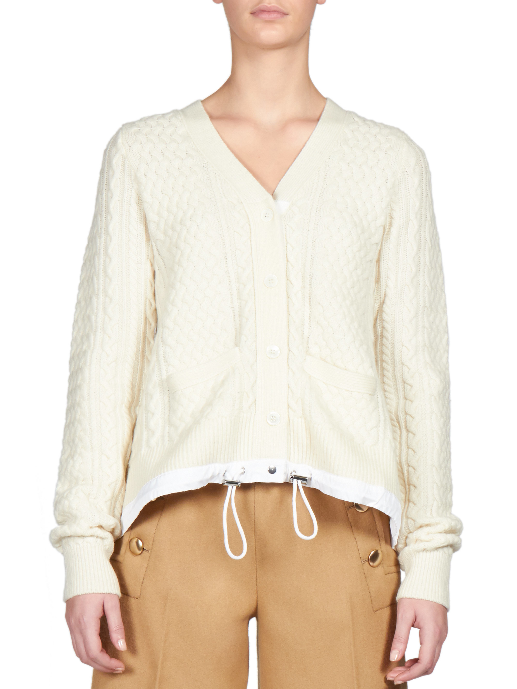 Sacai Luck Drawstring Cable-knit Cardigan in White | Lyst