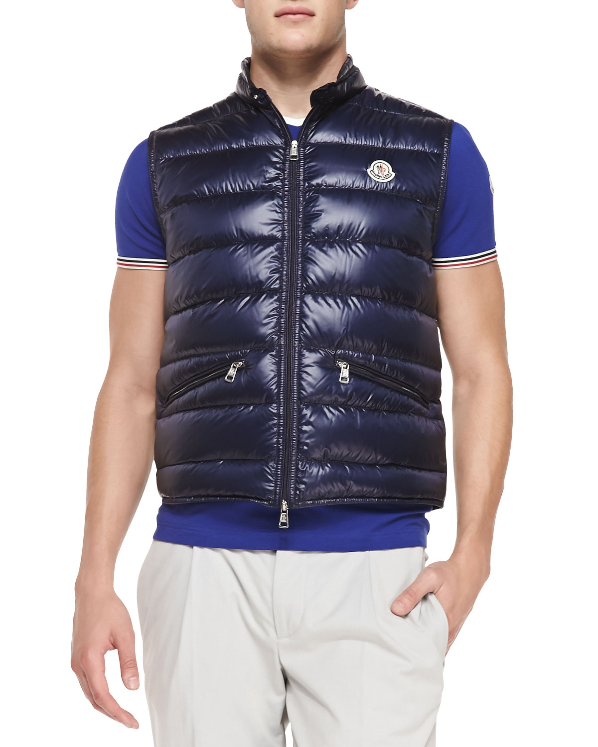 ac31e2db6b3c Lyst - Moncler Gui Quilted Puffer Vest in Blue for Men