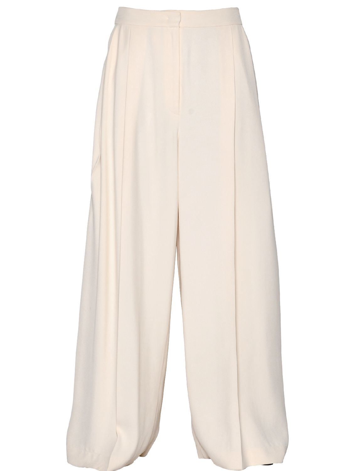 Sportmax Wide Leg Viscose Twill Pants in White | Lyst