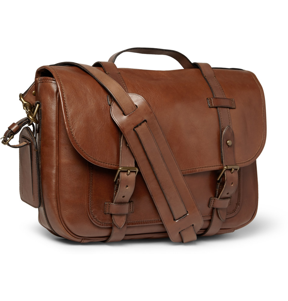 30389f161f ... sale lyst polo ralph lauren leather messenger bag in brown for men  9484c e9915