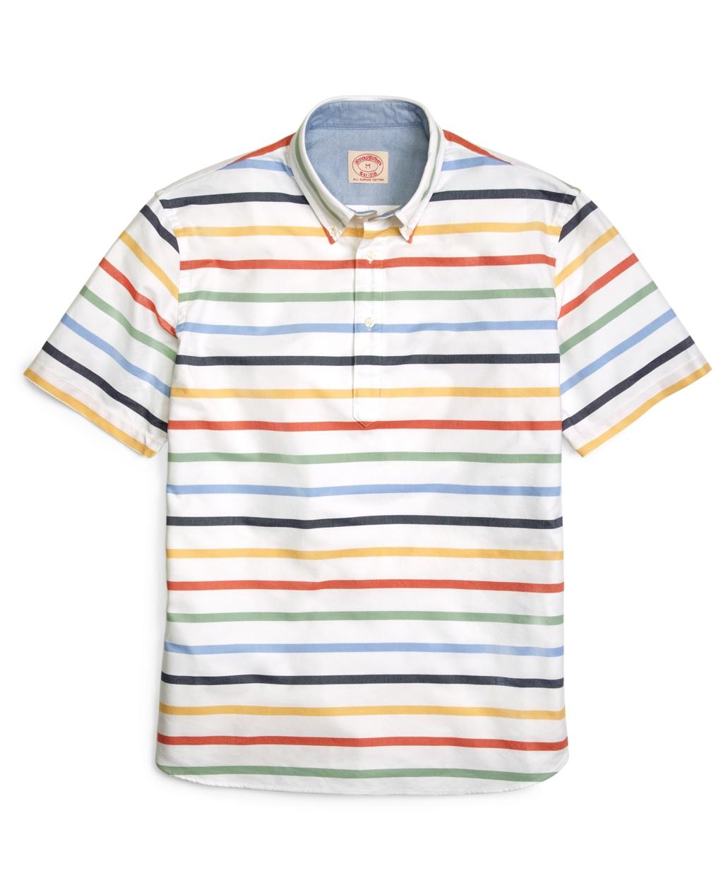 Brooks brothers ground horizontal stripe short sleeve for Horizontal striped dress shirts men