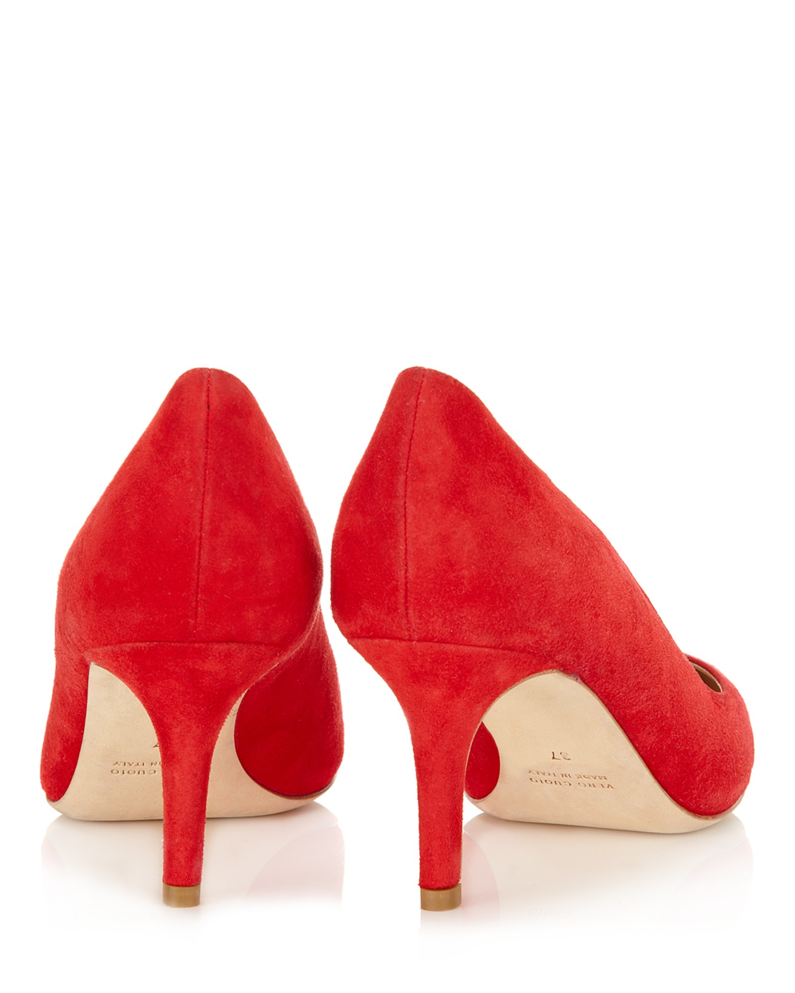 Red Suede Kitten Heels