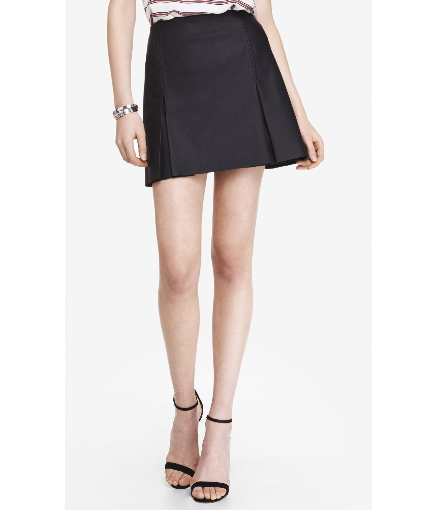 Express A-Line (Minus The) Leather Pleated Mini Skirt in Black | Lyst