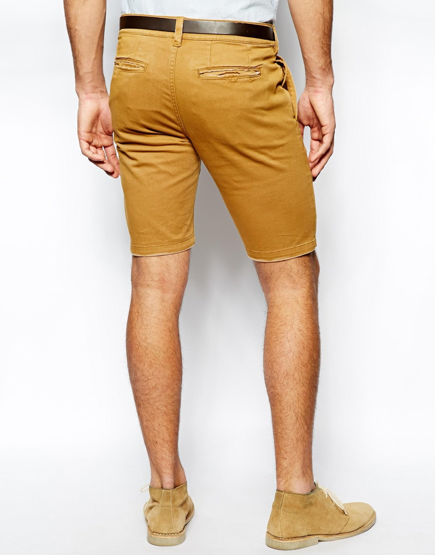 Asos Chino Shorts in Skinny Heavyweight Fabric in Brown for Men | Lyst
