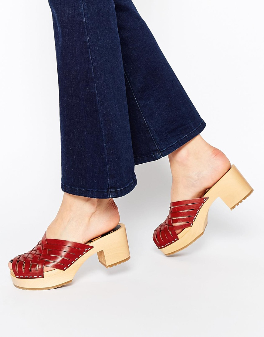 Lyst - Swedish Hasbeens Karin Braided Open Top Heeled Clog Shoes in Red eec94a133