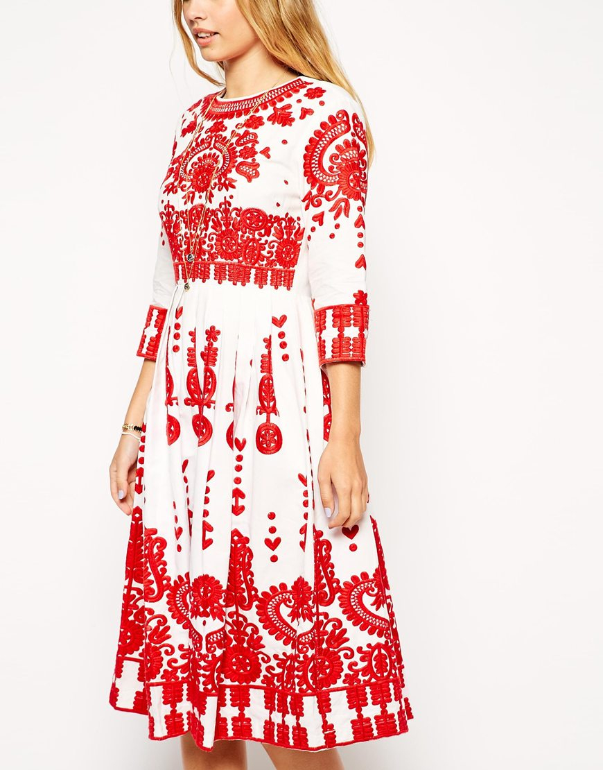 Lyst asos premium midi dress with heavy embroidery in red