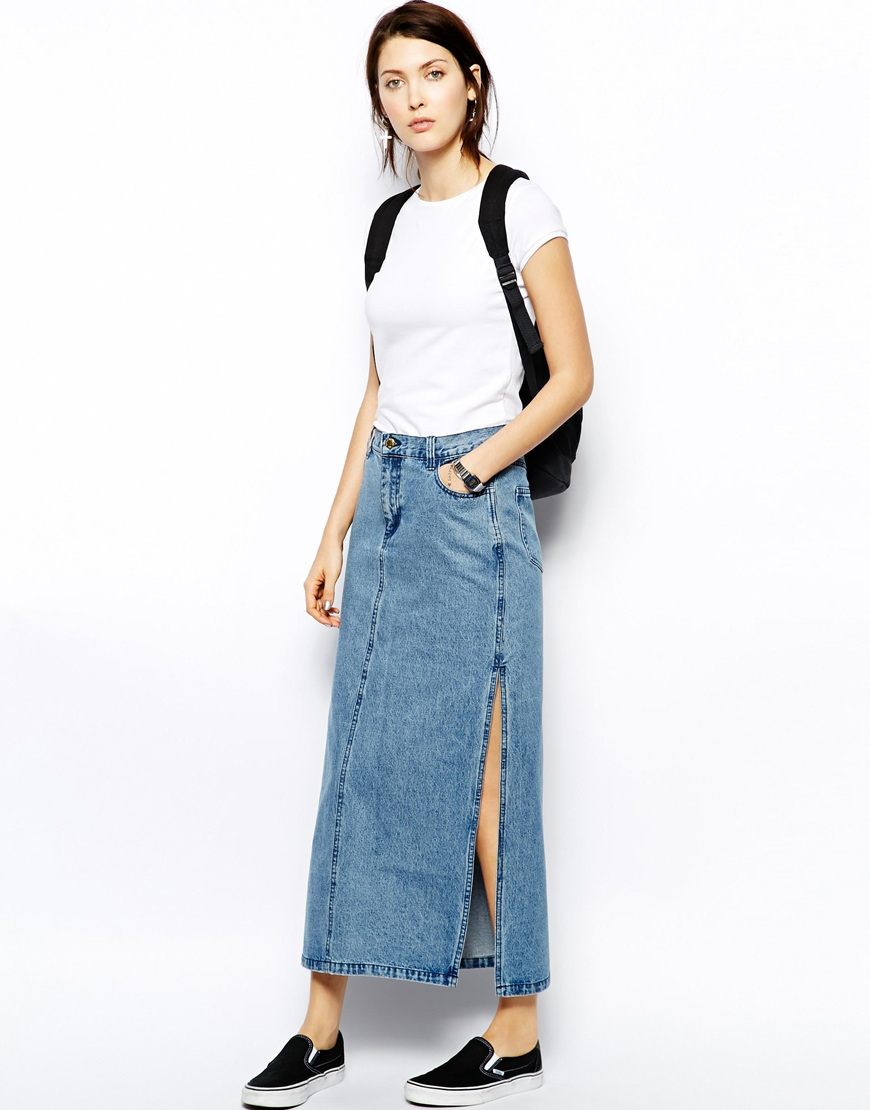 Cheap monday Denim Maxi Skirt in Blue | Lyst