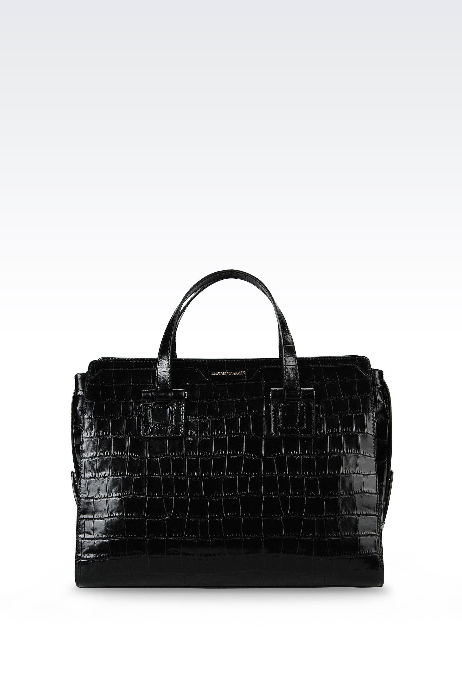 ... Tote Bags  official photos 1ab9c e802a Lyst - Emporio Armani Bauletto  Bag In Croc Print Calfskin in ... 5fe347b14a