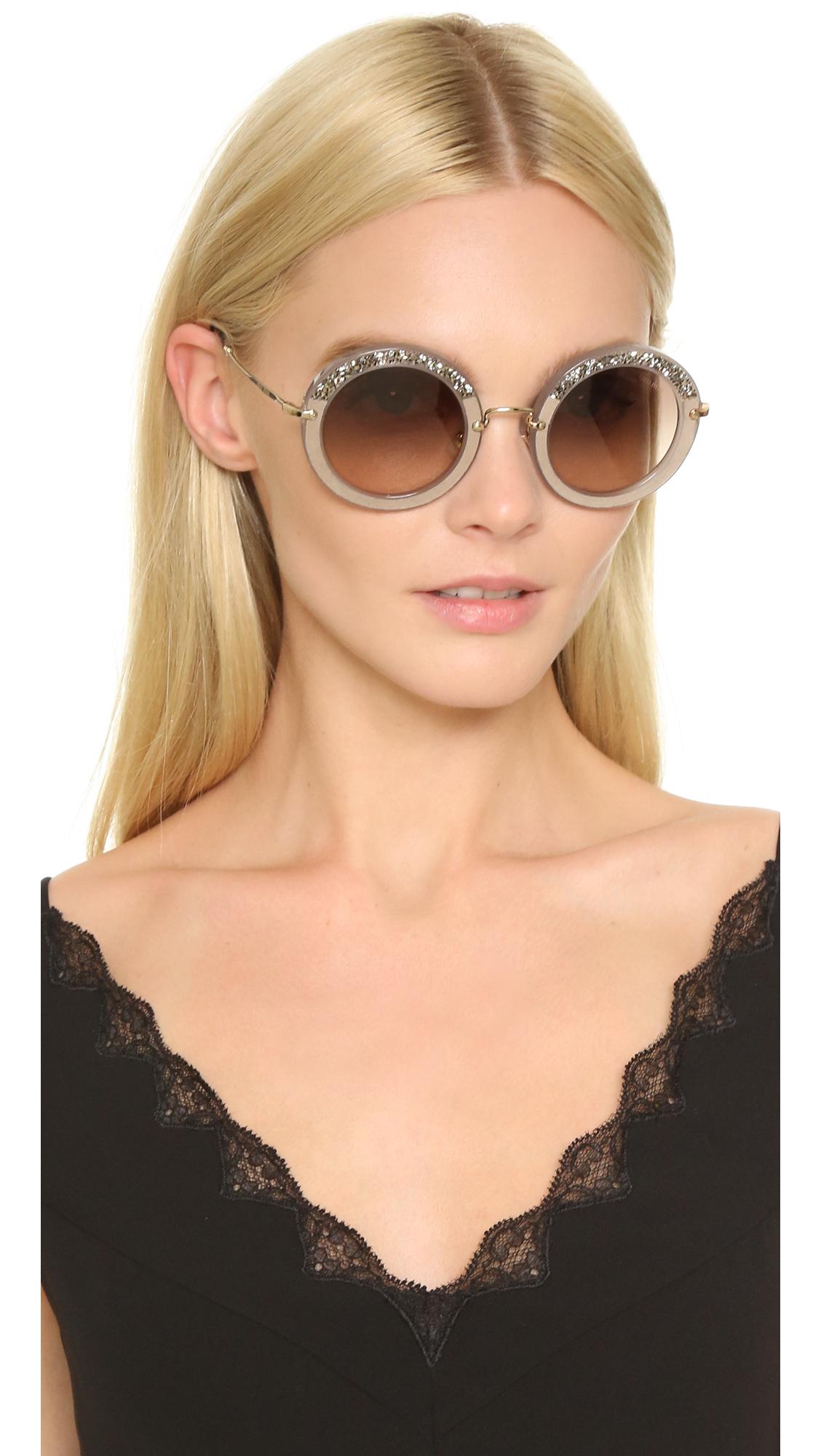 29ec14921b67c Miu Miu Round Crystal Sunglasses in Gray - Lyst