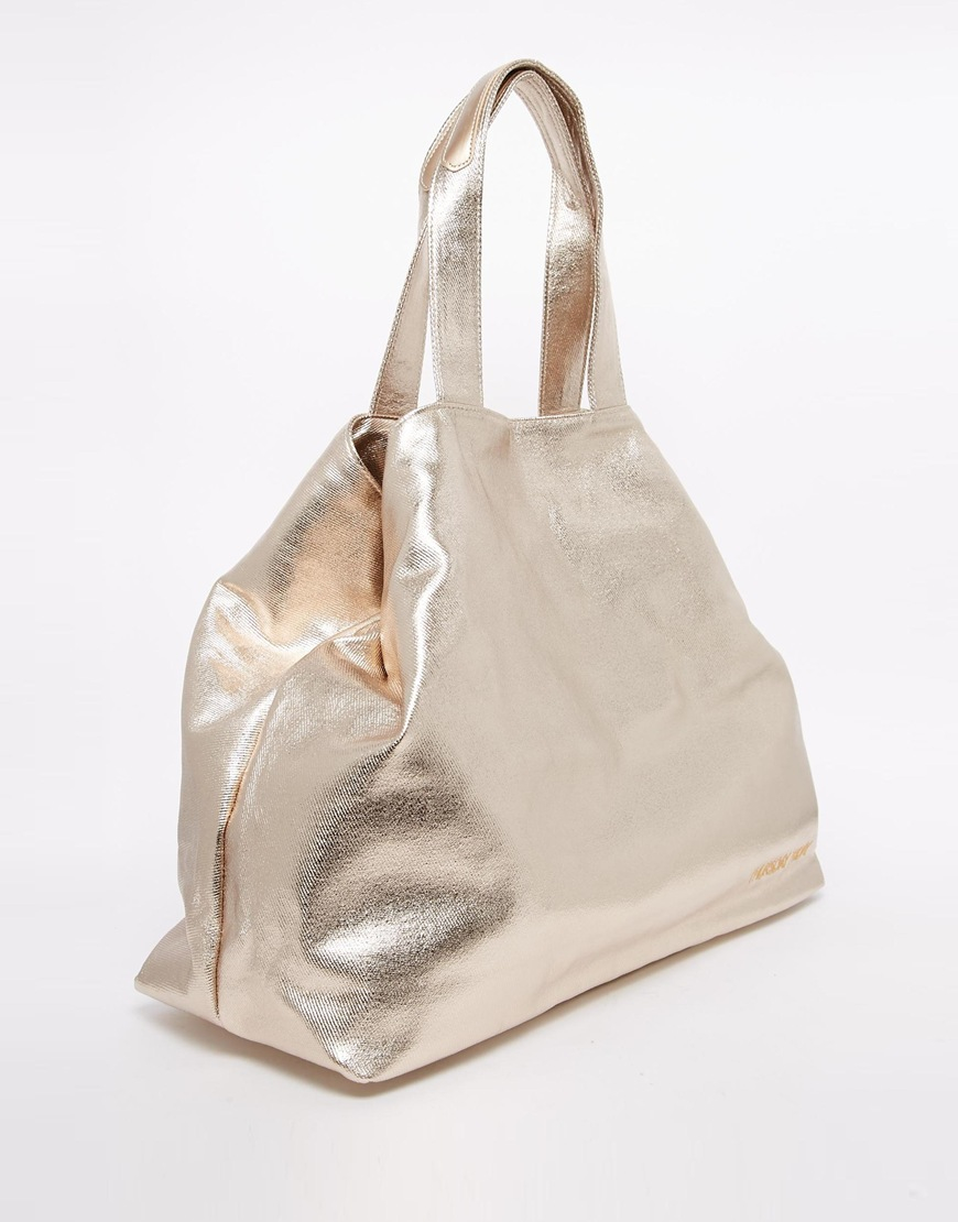 Thursday friday Canvas Metallic Beach Bag in Metallic | Lyst