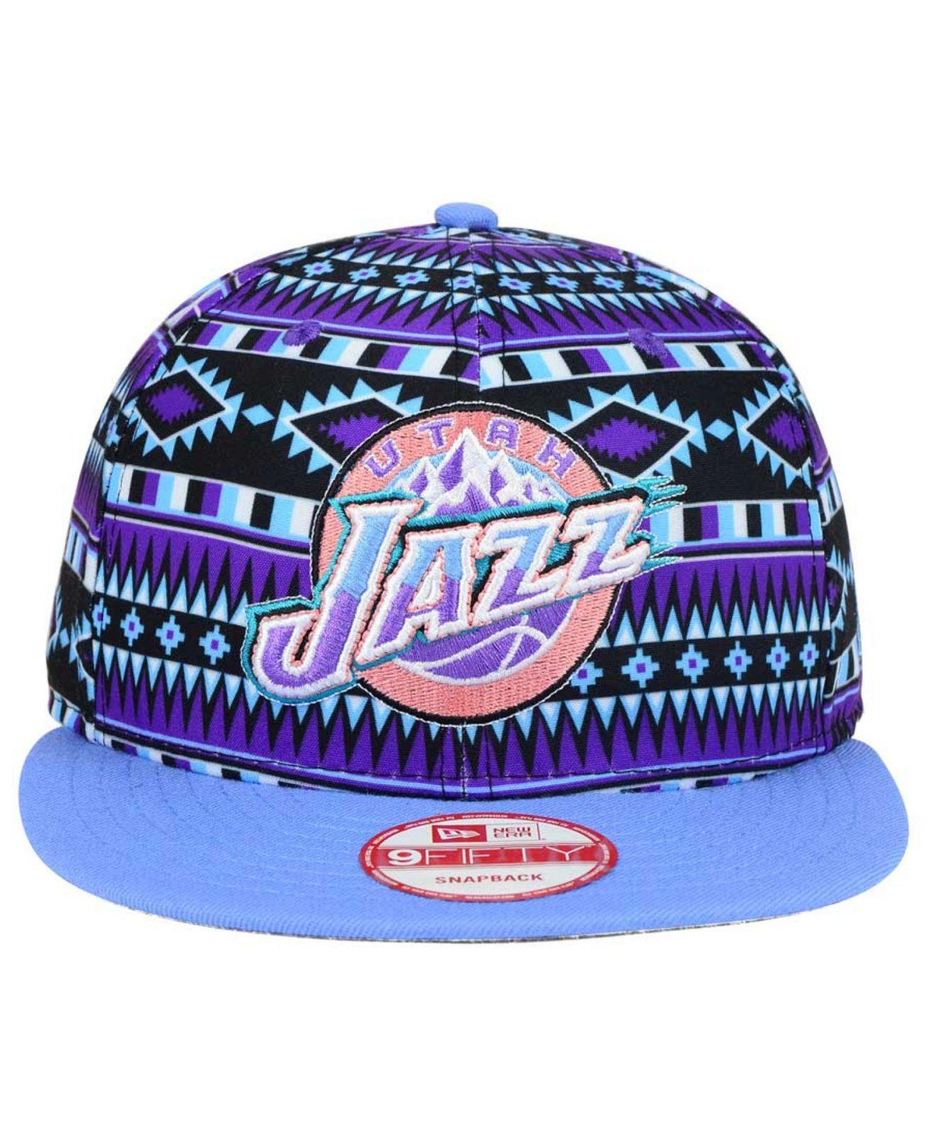 Lyst - KTZ Utah Jazz Hwc Tri-all Print 9fifty Snapback Cap in Purple ... 898384c66