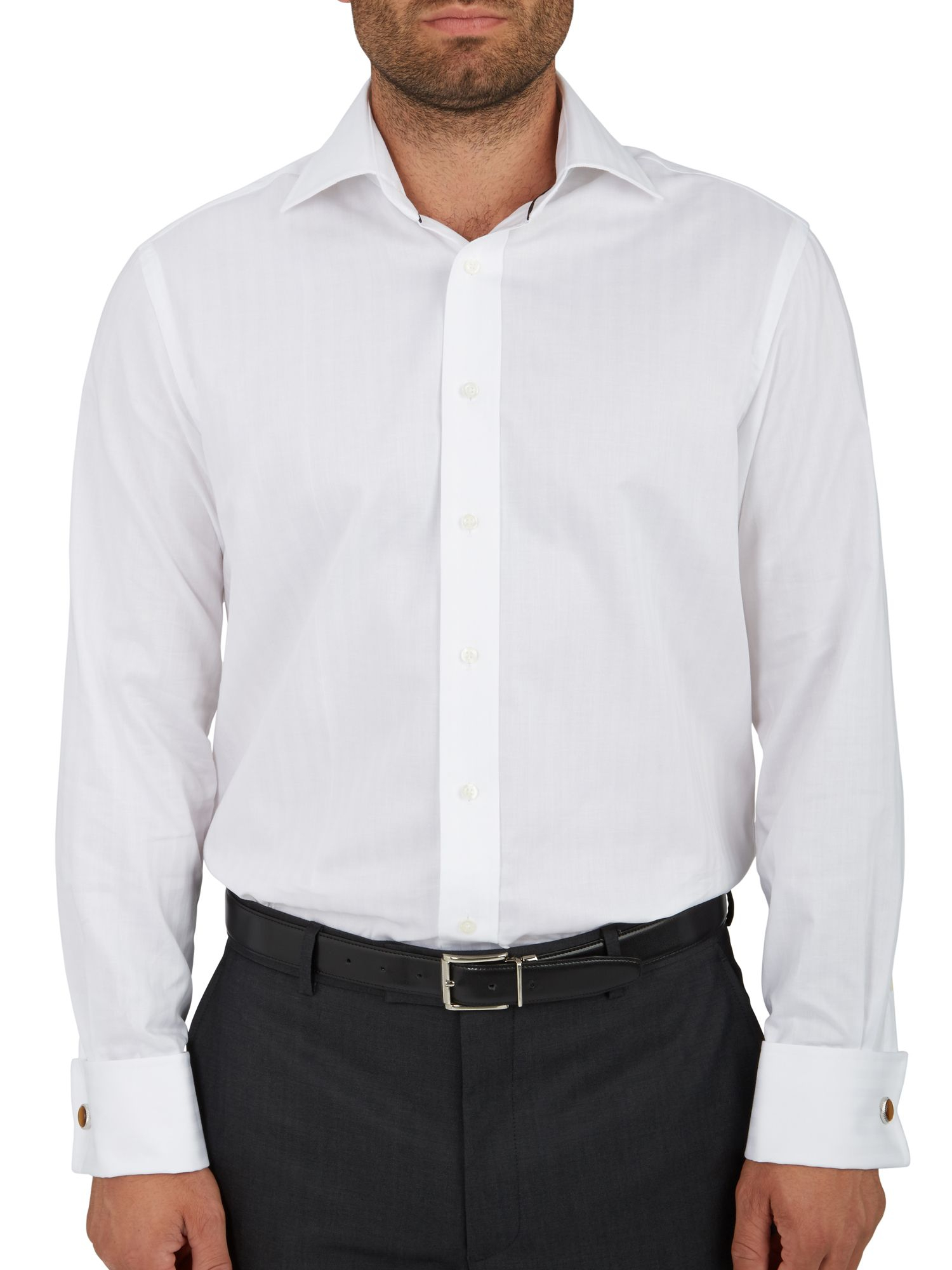 Paul Costelloe Self Stripe Double Cuff Shirt In White For