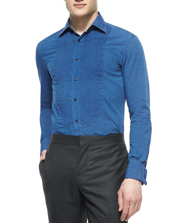 Lyst brunello cucinelli pleated front denim tuxedo shirt for Tuxedo shirts for men