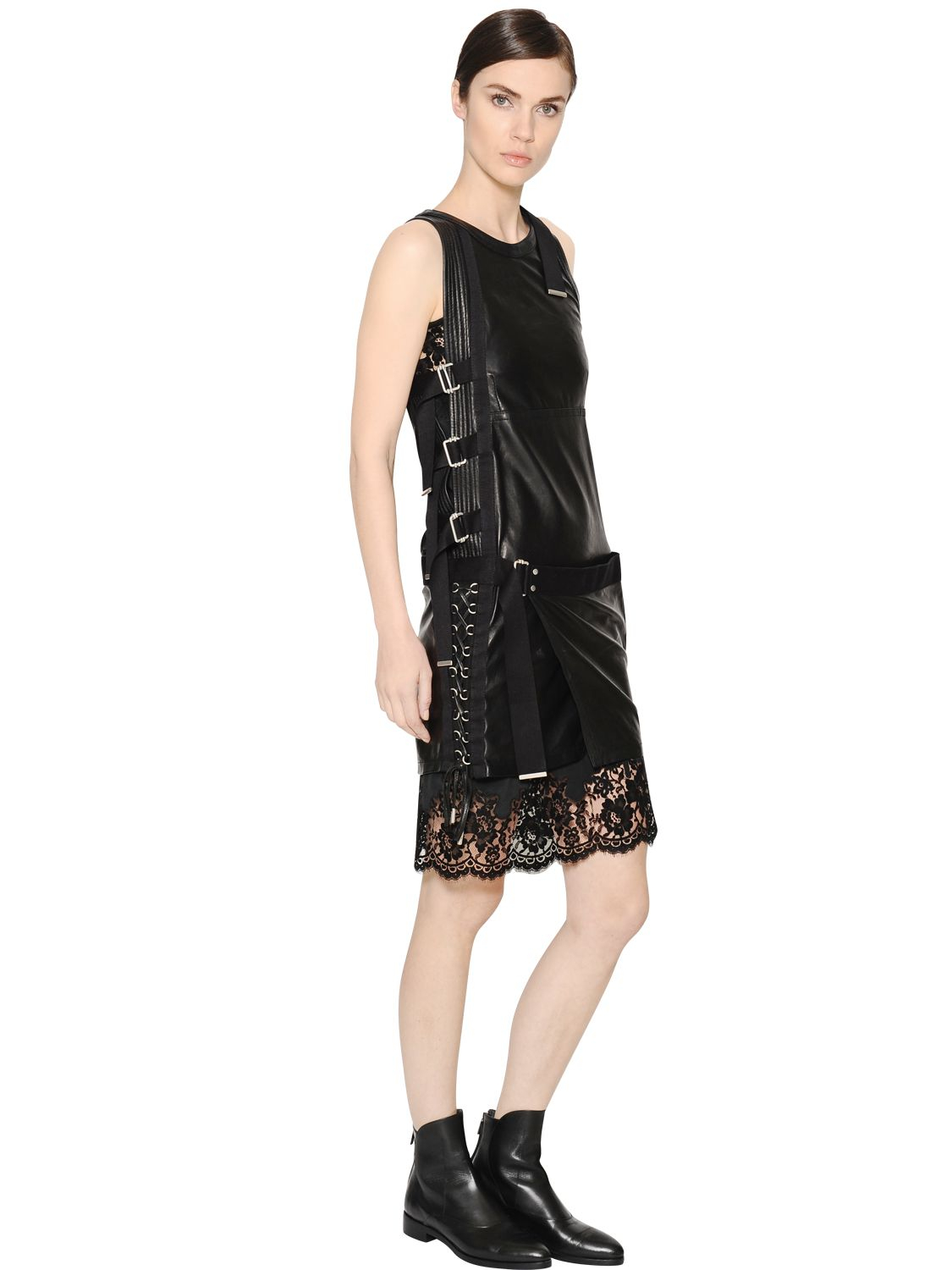 Lyst Diesel Black Gold Leather Amp Lace Dress With Buckles