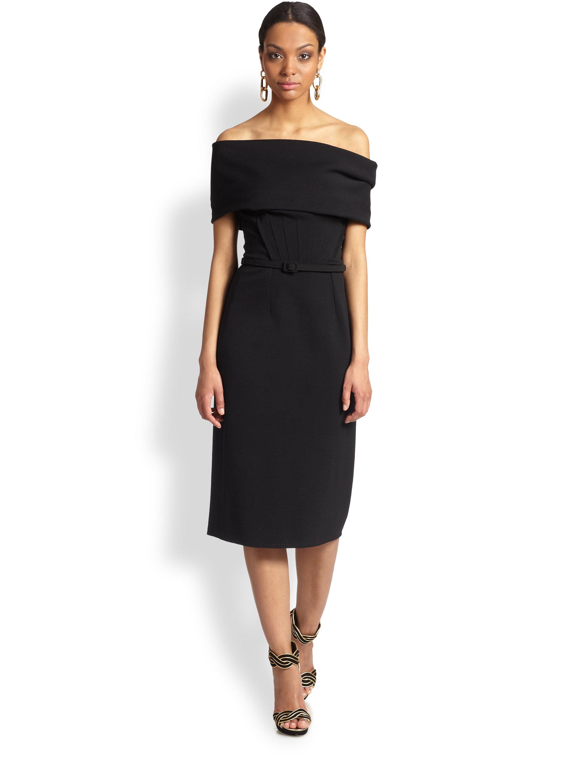 0a4e45e8bf3 Oscar de la Renta Off-The-Shoulder Silk Dress in Black - Lyst