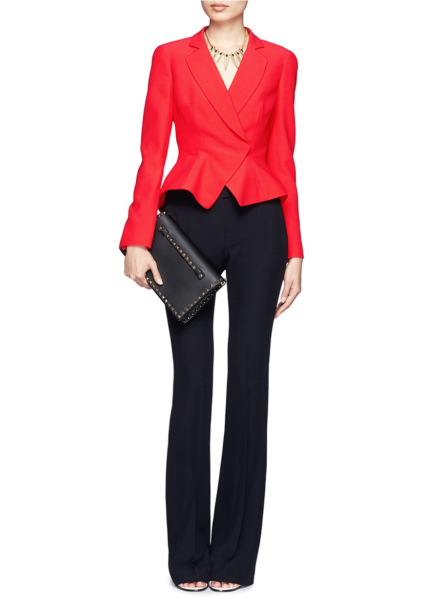 Lyst Alexander Mcqueen Leaf Crepe Peplum Suit Jacket In Red