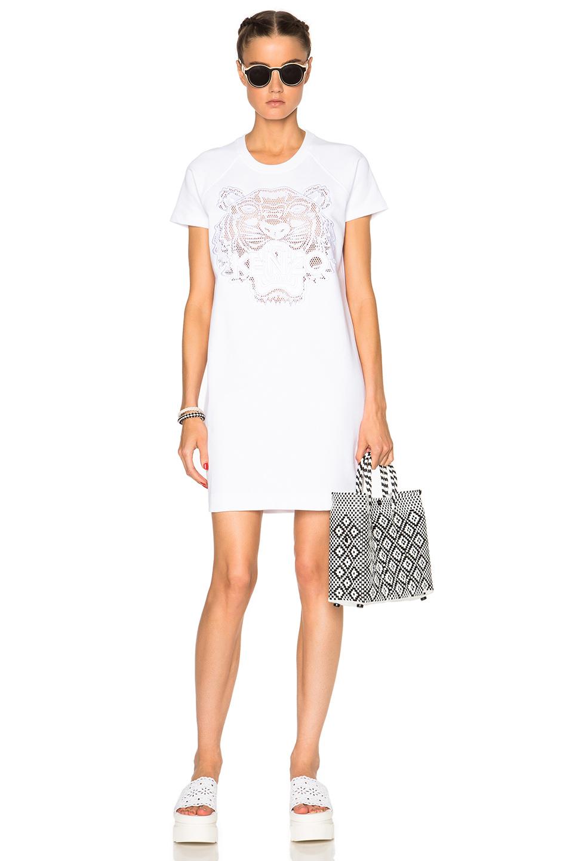 ae1544edf KENZO Mesh Tiger Sweater Dress in White - Lyst