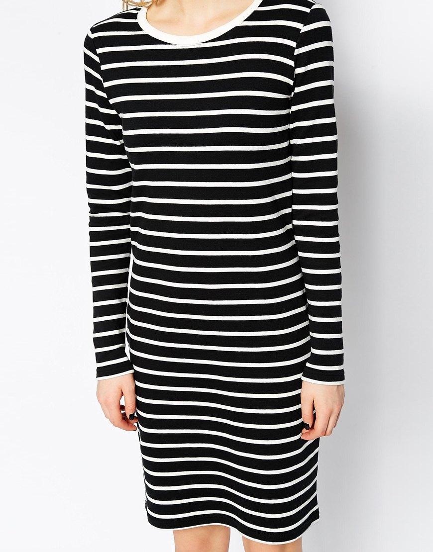 Long sleeve striped t-shirt dress