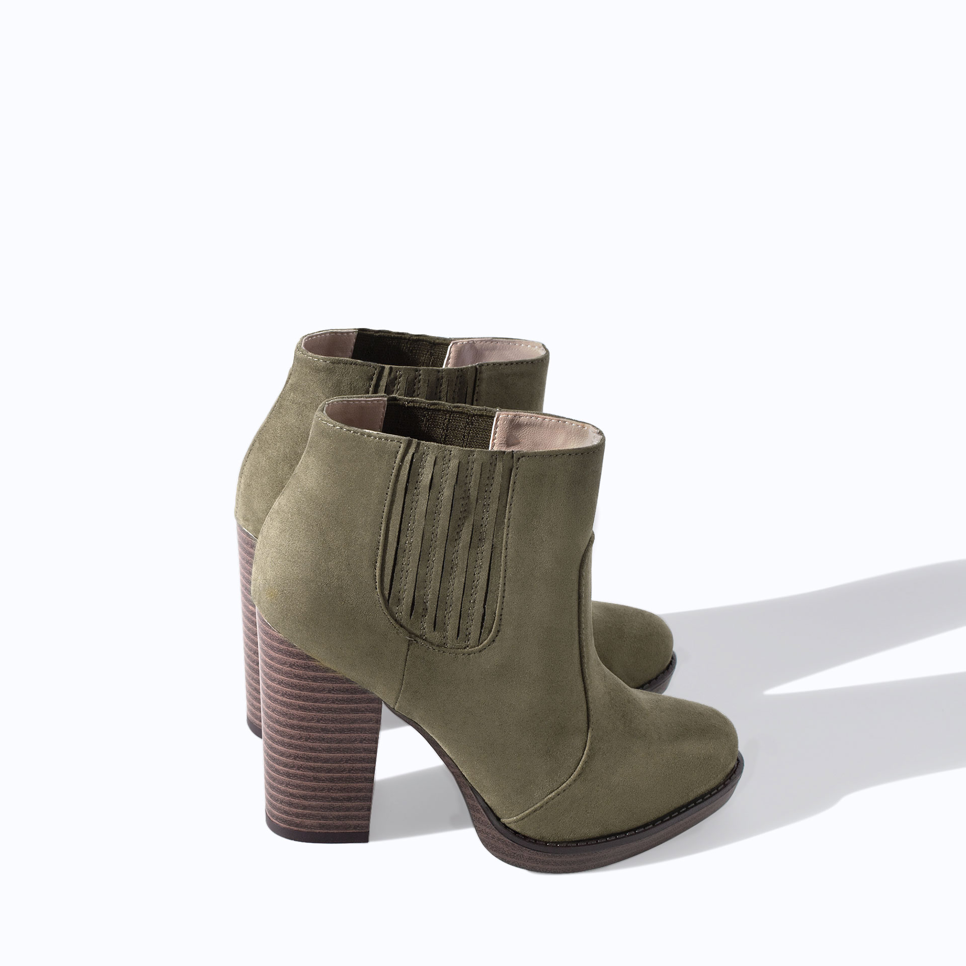 zara trf high heel ankle boot in green lyst