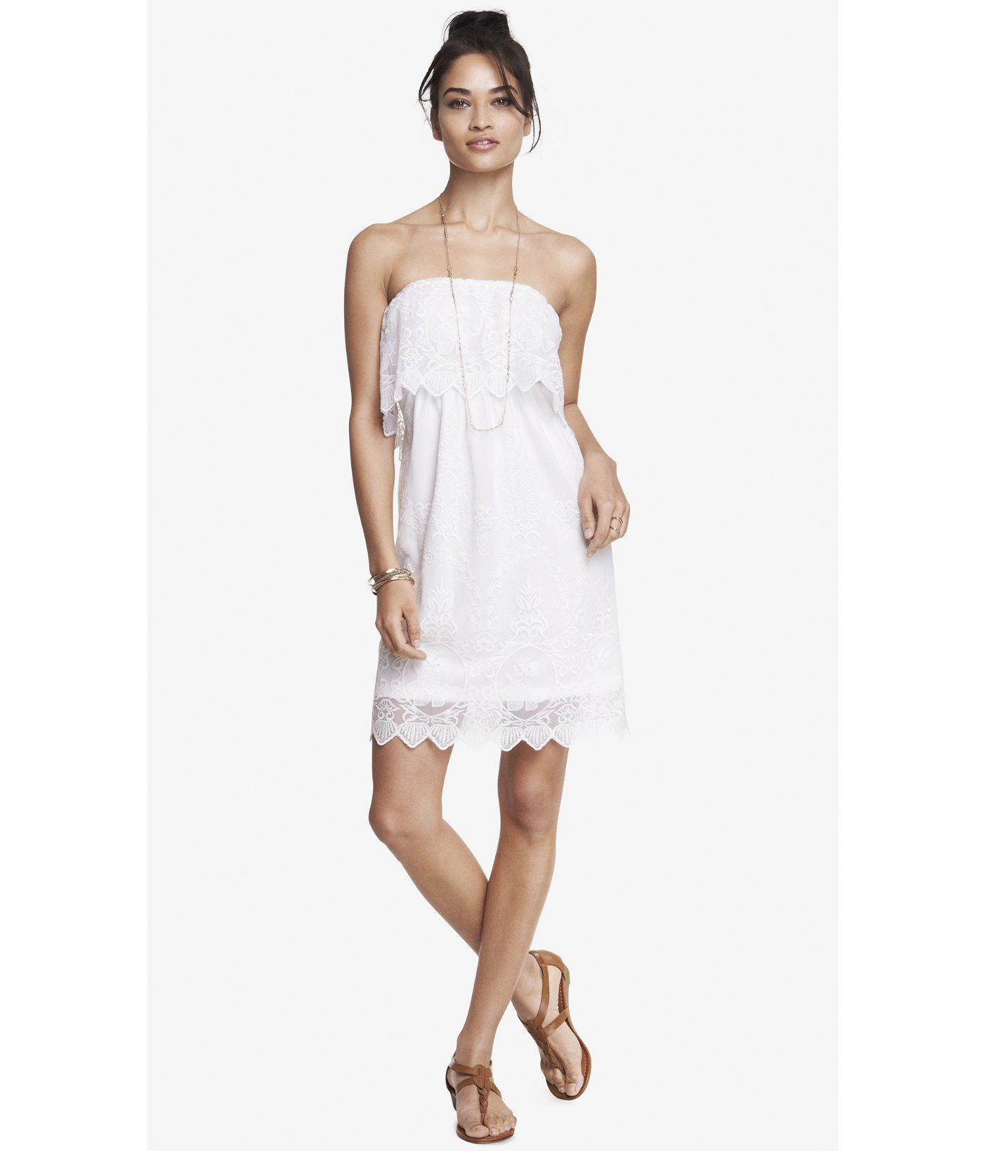 Lyst - Express Baroque Lace Tube Dress in White