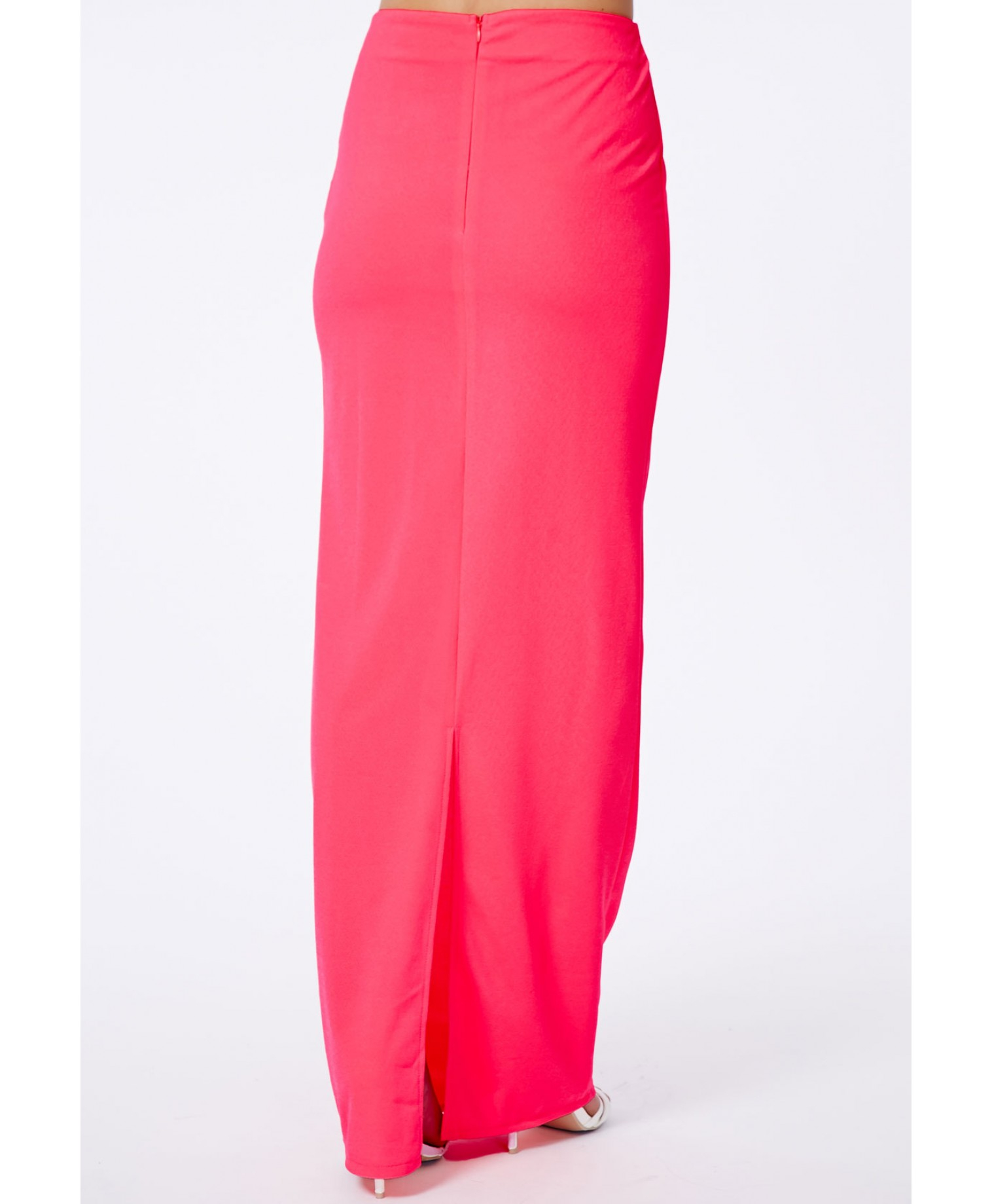 missguided amla neon pink back split crepe maxi skirt in