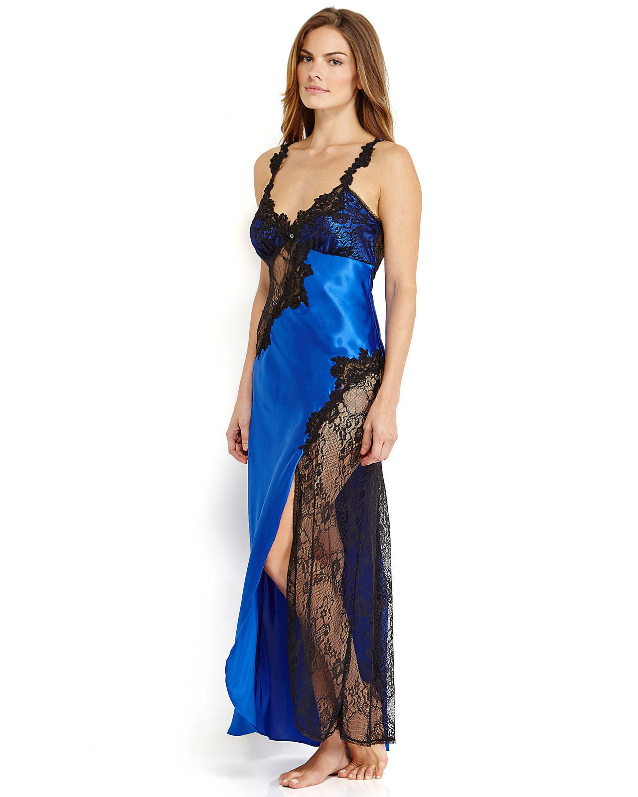 Lyst - Jonquil Royal Blue Black Lace Trim Nightgown in Blue