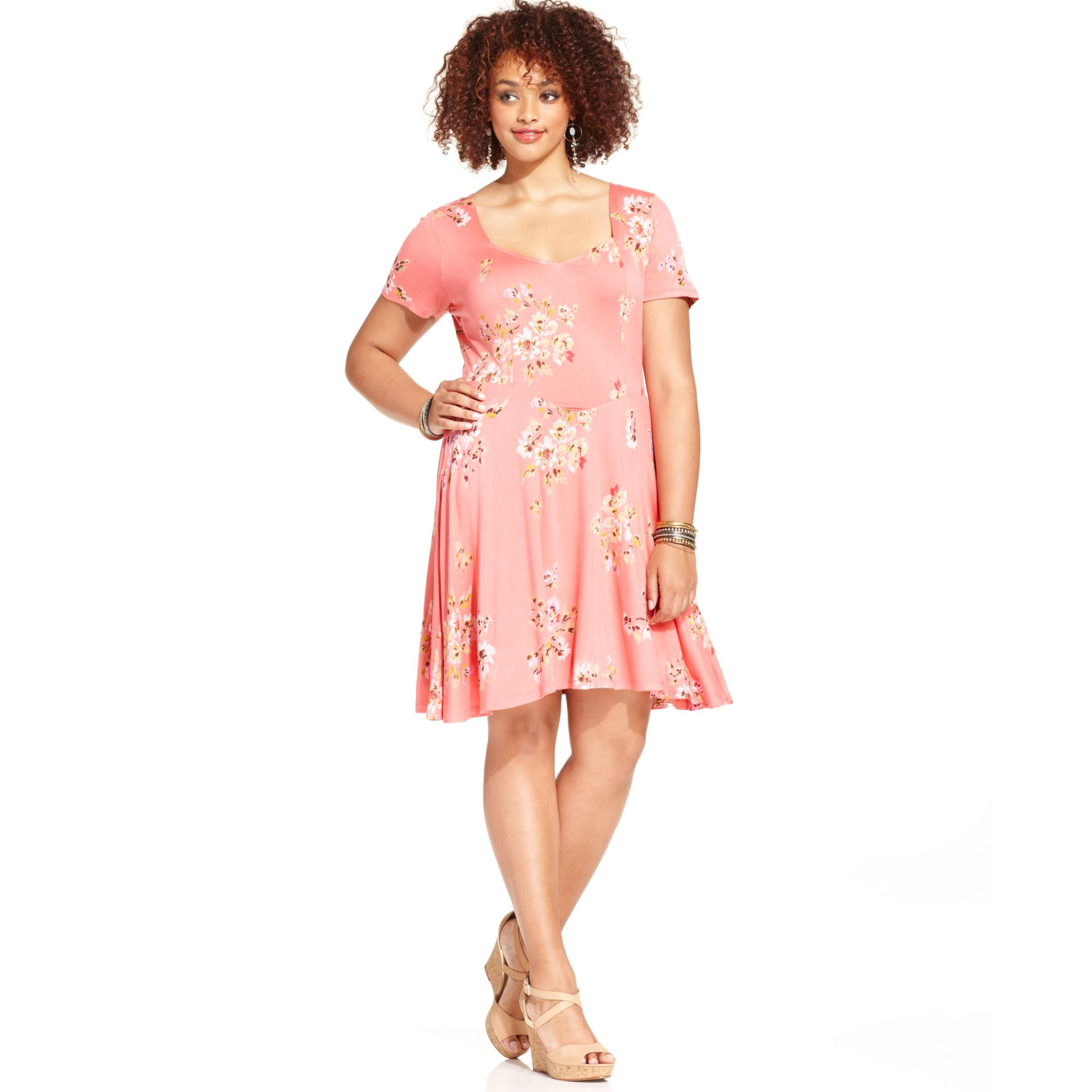 plus size pink dress with sleeves images