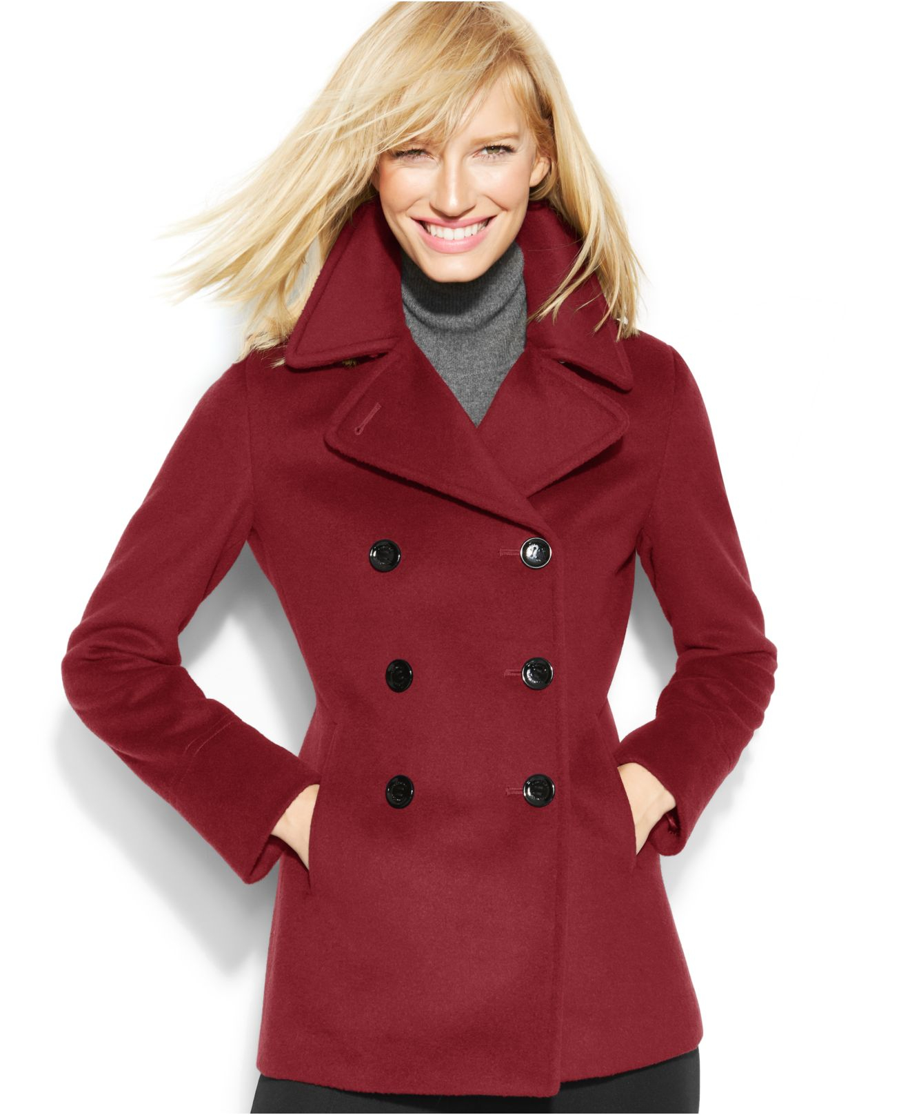 Calvin klein Petite Wool-Blend Peacoat in Red | Lyst