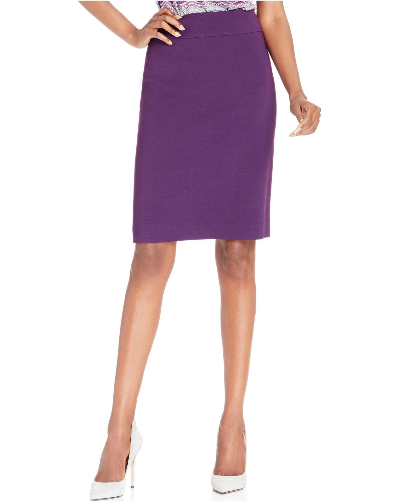 ab97ac3eaa Lyst - Tahari Ponte Pencil Skirt in Purple
