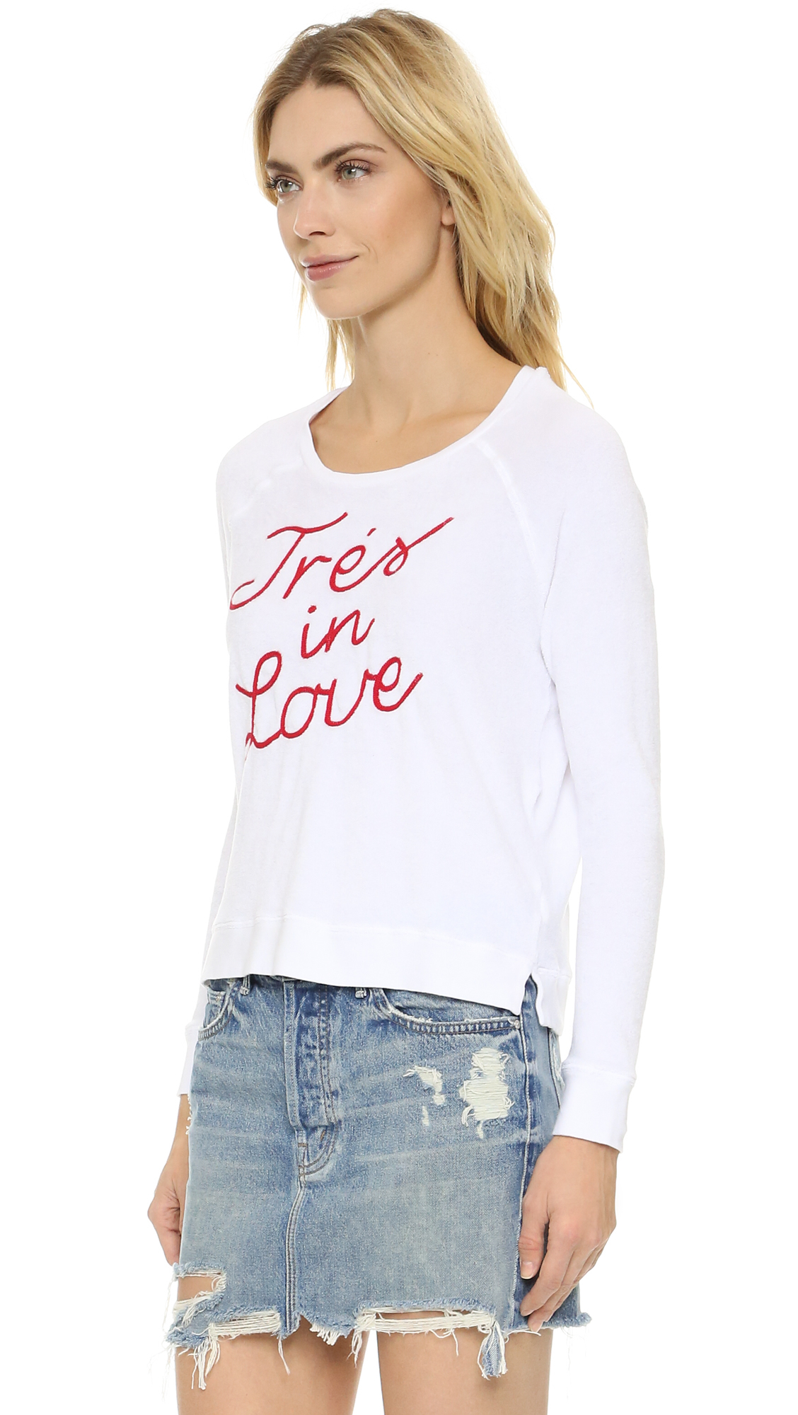 Sundry tres in love sweatshirt in white lyst for Thrilla in manila shirt under armour