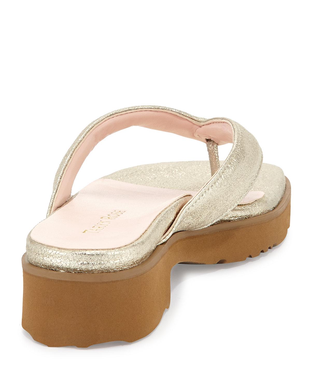 b2290d6ef7c Lyst - Taryn Rose Tara Suede Thong Sandal Soft Gold 8 in White