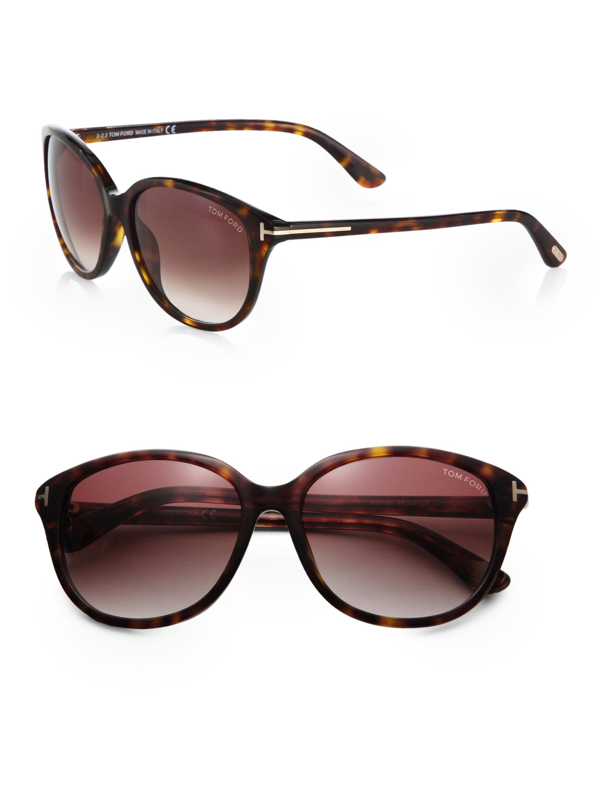 tom ford karmen vintage inspired round sunglasses in brown. Black Bedroom Furniture Sets. Home Design Ideas