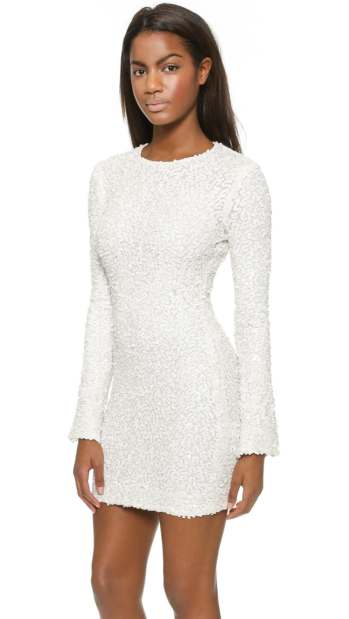 Rachel zoe Bell Sleeve Sequin Mini Dress - Ivory in White  Lyst