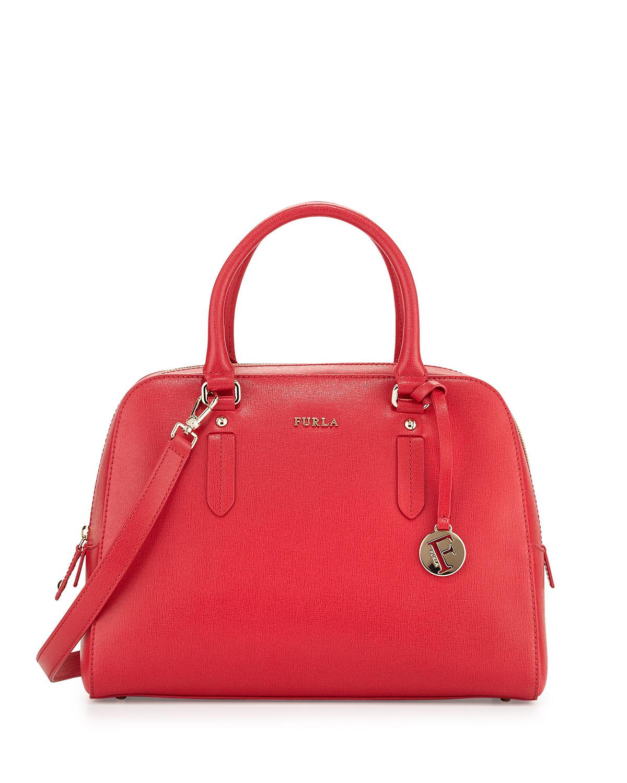 Furla Elena Medium Leather Satchel Bag in Red