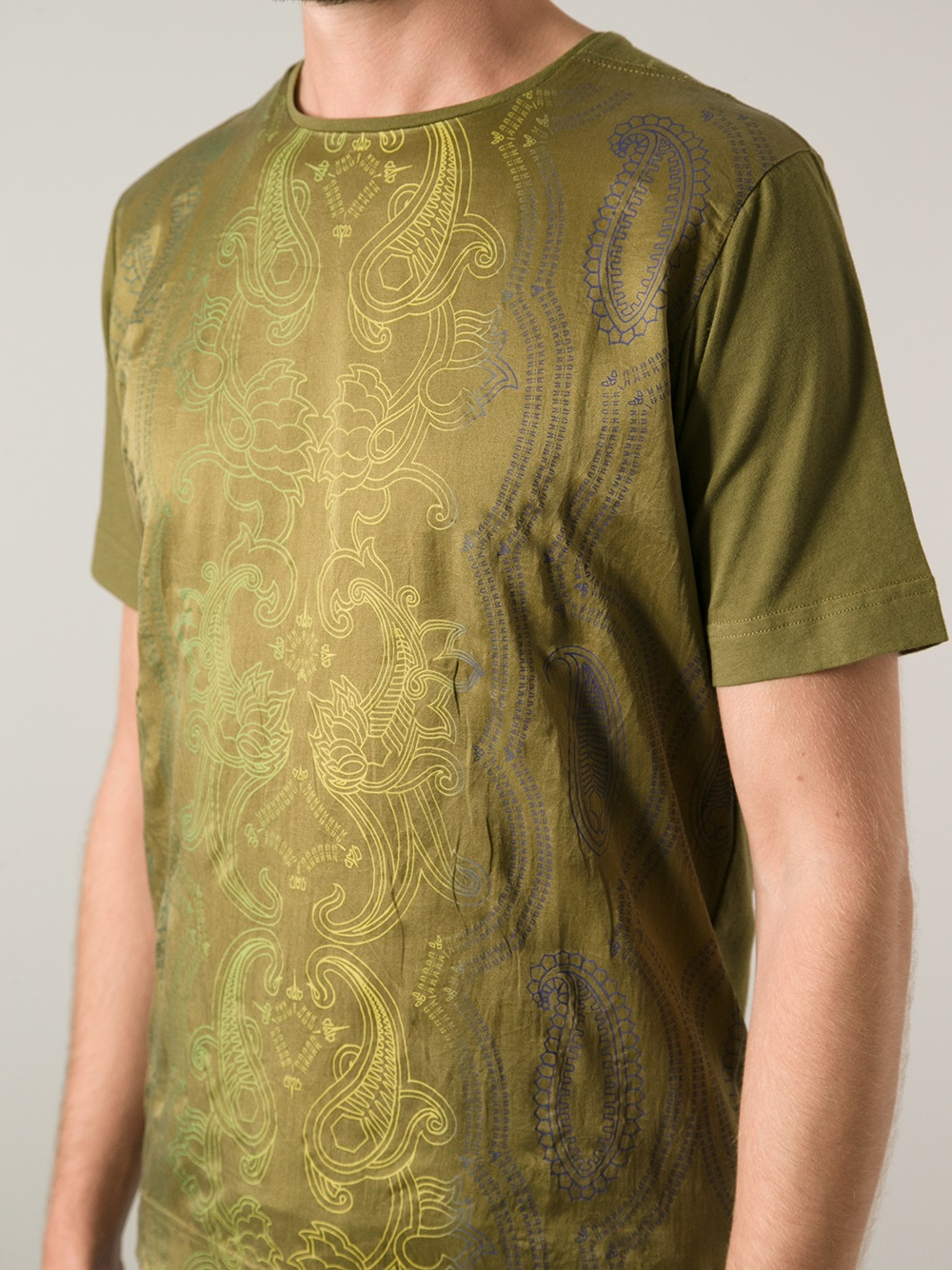 Diesel Black Gold Tachici Paisley Tshirt In Green For Men