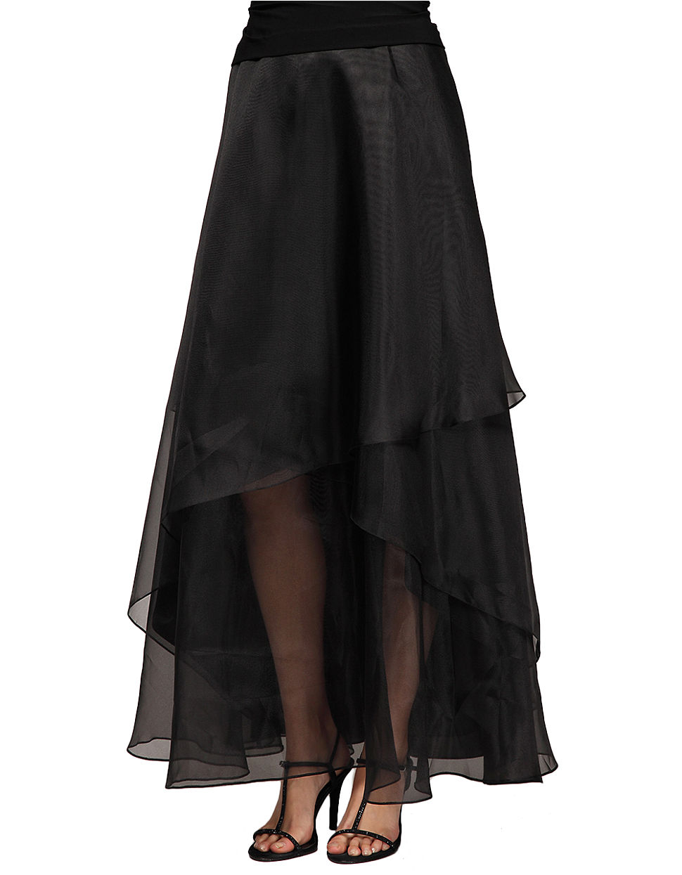alex evenings tiered maxi skirt in black