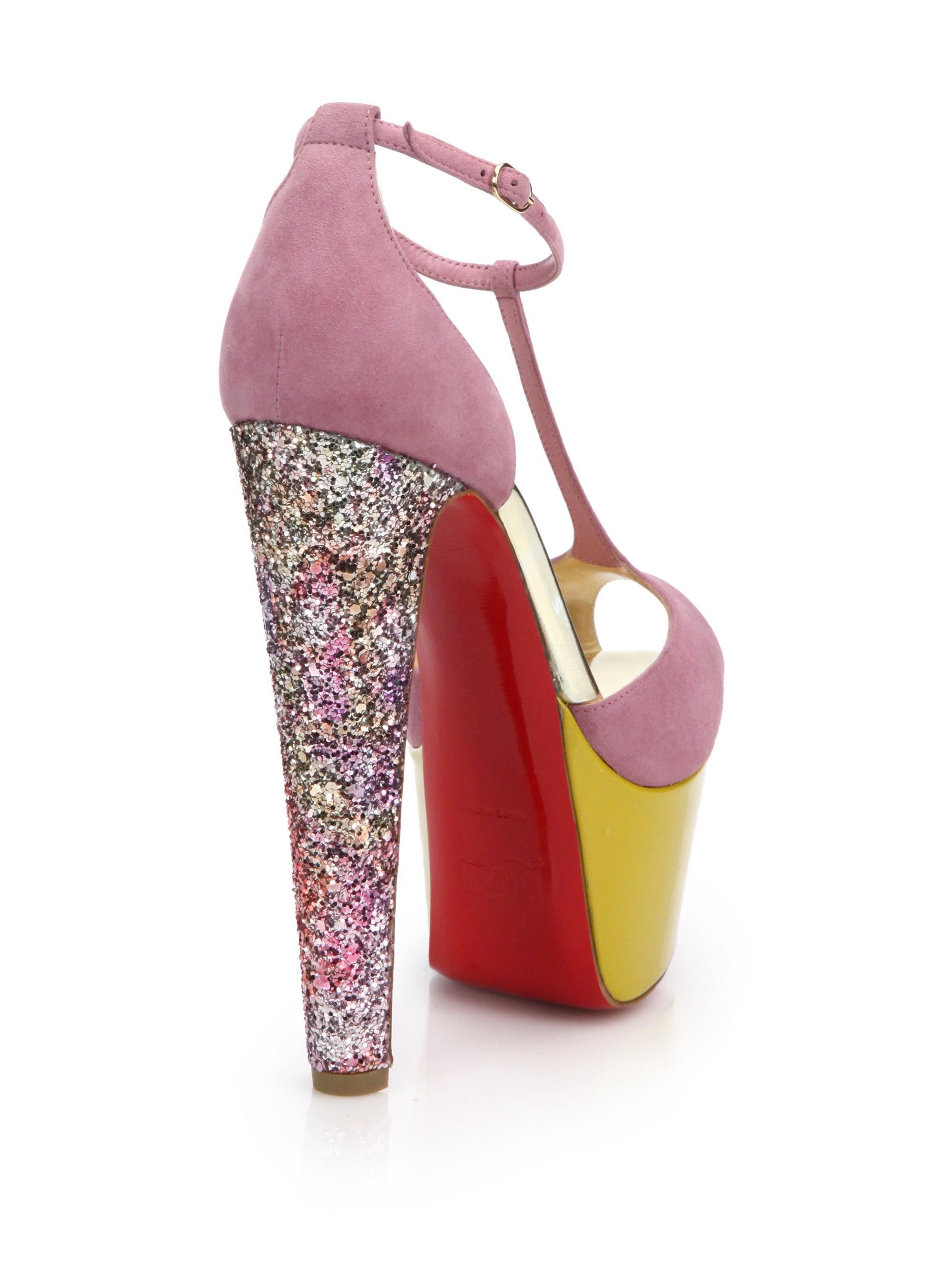 knockoff christian louboutin shoes - Christian louboutin Nenecheritza Colorblock Suede Glitter-heel ...