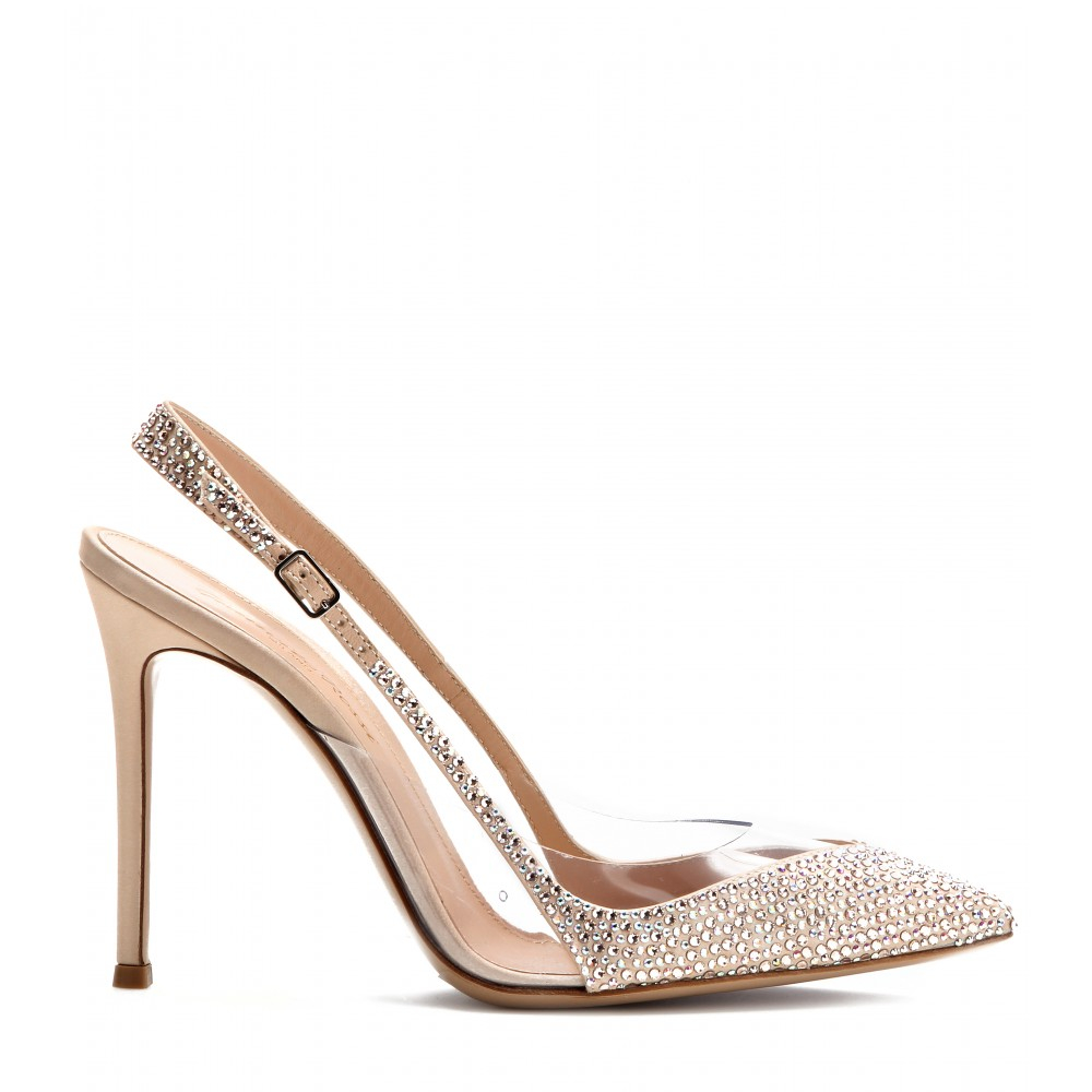 For Cheap Discount Gianvito Rossi Crystal-embellished satin pumps Discount Low Cost Discount Outlet Store Sale Really Discount Cheapest J7j8McV