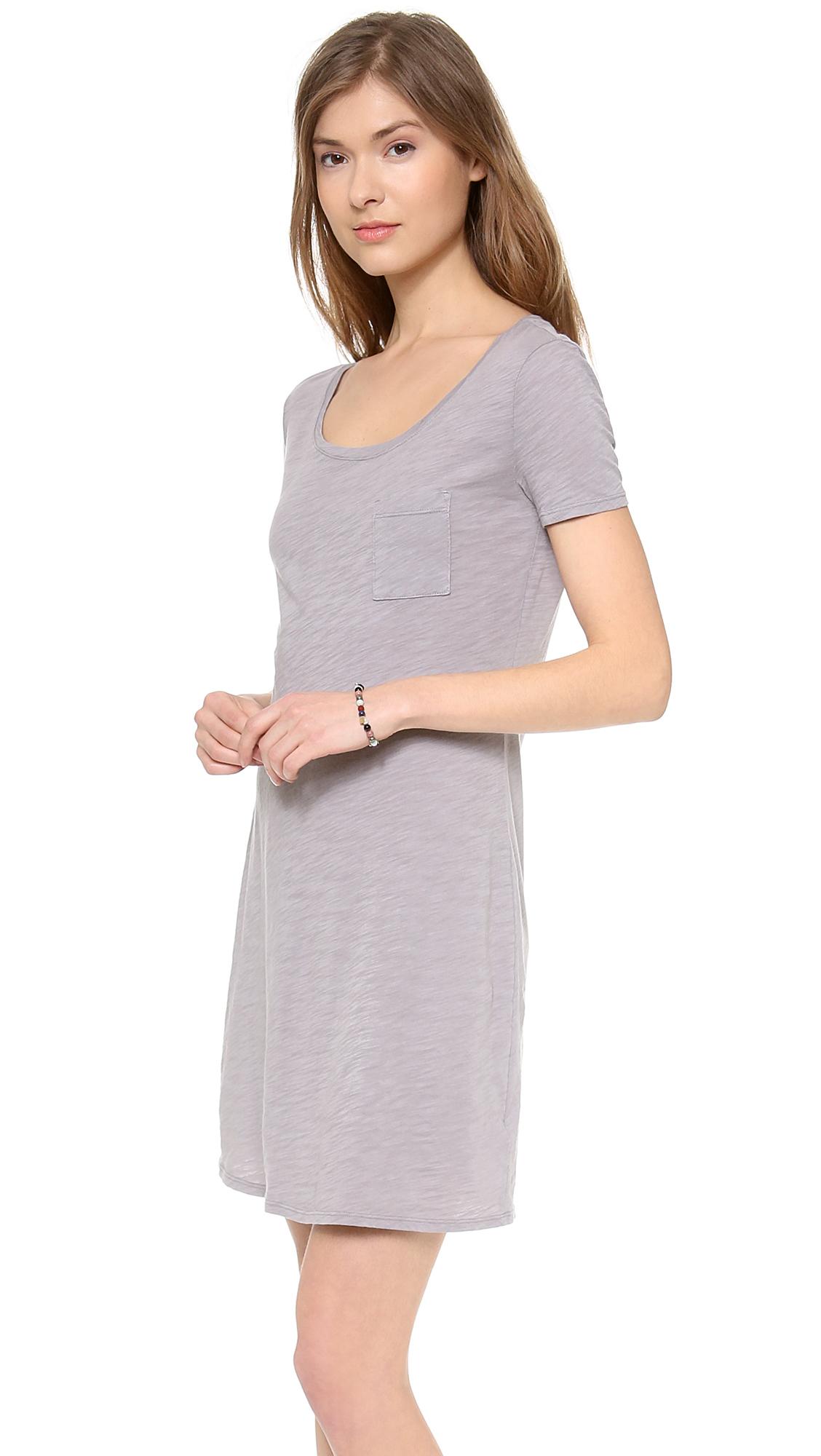 Three dots tshirt dress in gray lyst for Three dots t shirts