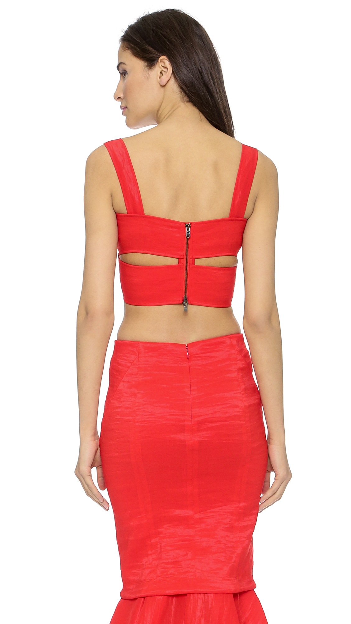 Donna karan new york cross draped bra top flame red in for Donna karen new york