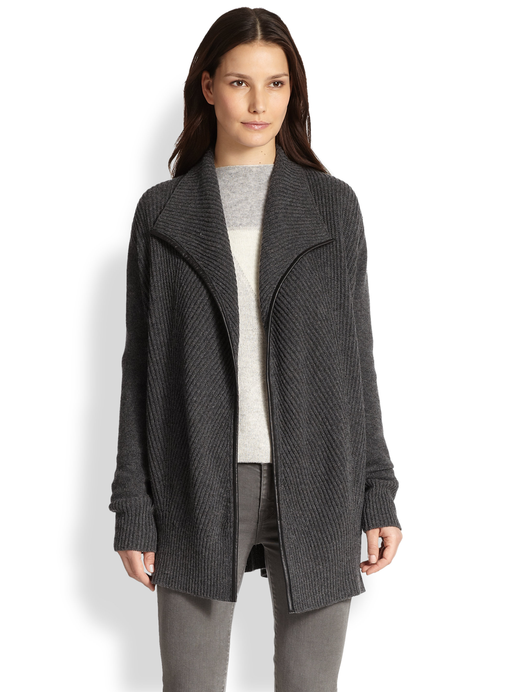 Vince Leather-Trimmed Wool & Cashmere Draped Cardigan in Gray | Lyst