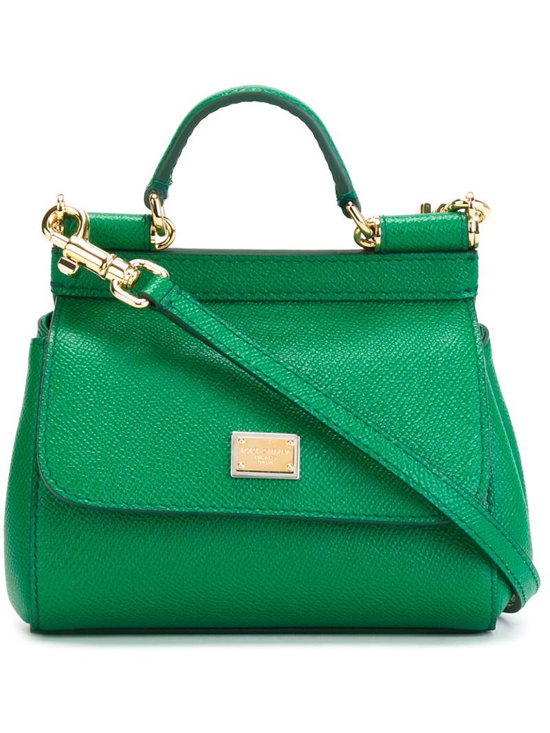 Lyst Dolce Gabbana Sicily Mini Leather Tote In Green b2165aff78