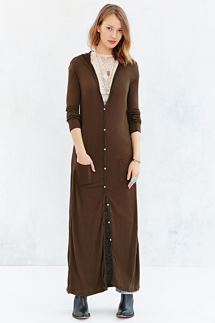 Ecote Easy Hooded Maxi Cardigan in Green   Lyst