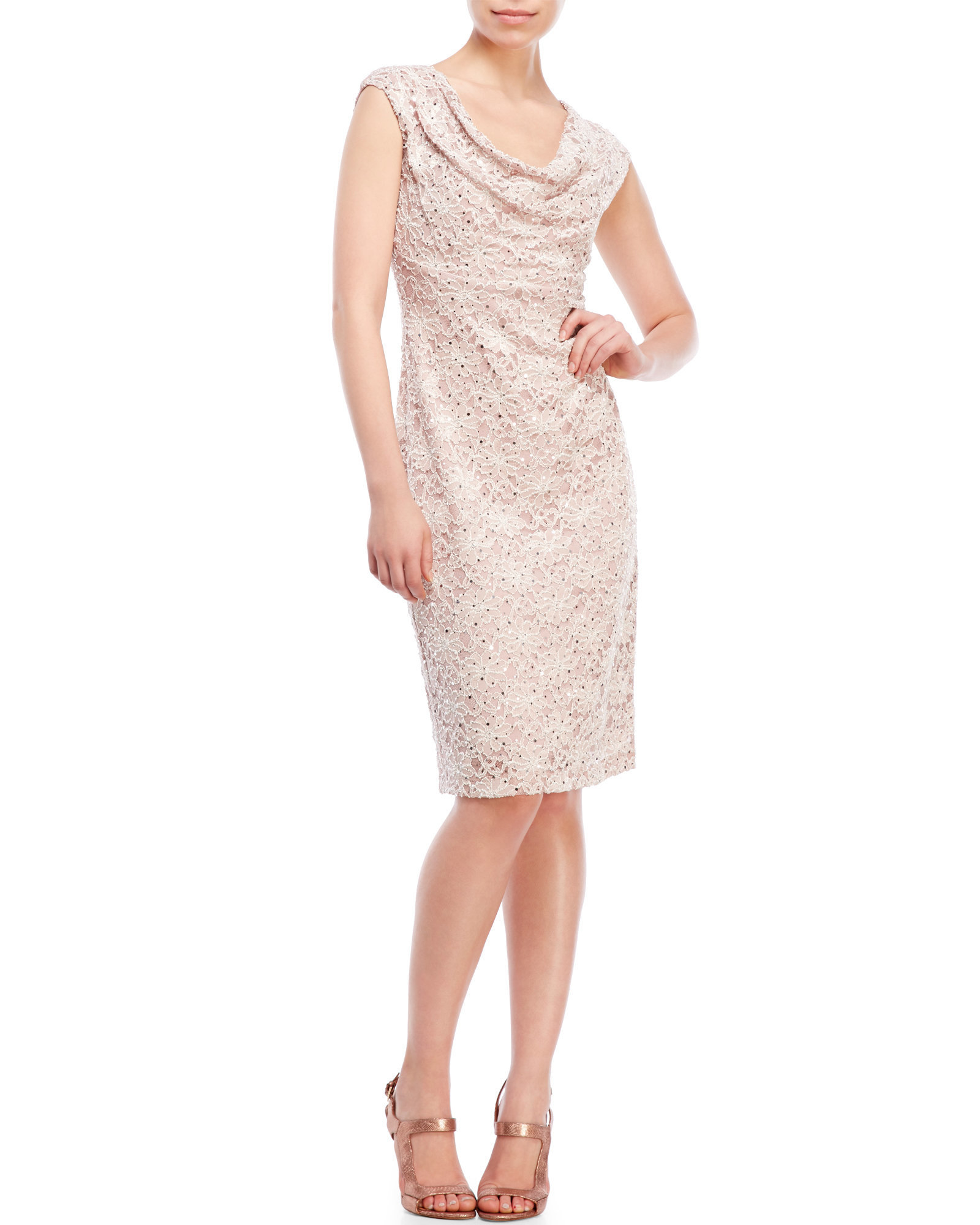 Connected Apparel Womens Cap-Sleeve Sequin Lace Dress