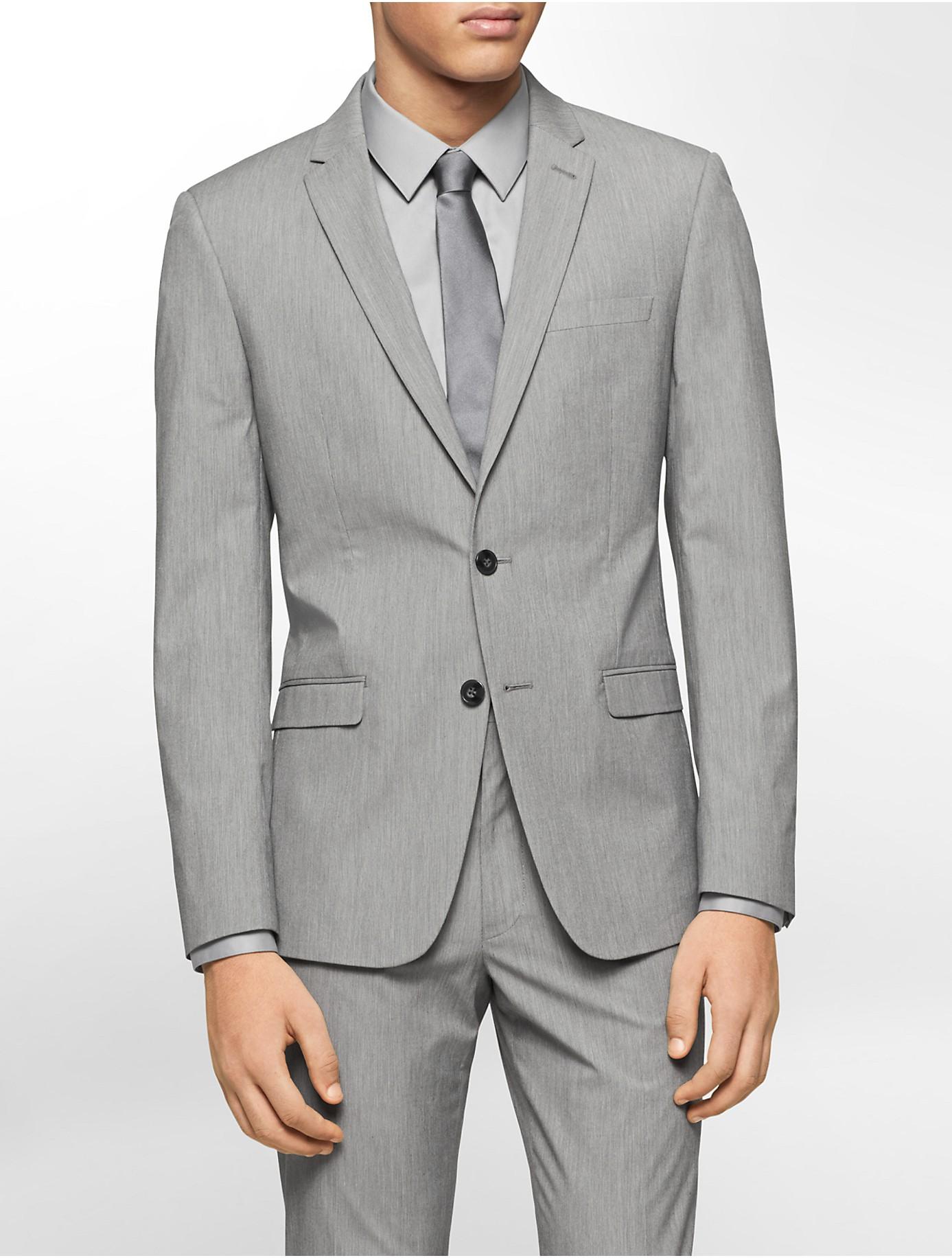 Calvin klein white label x fit ultra slim fit silver fine for Calvin klein x fit dress shirt
